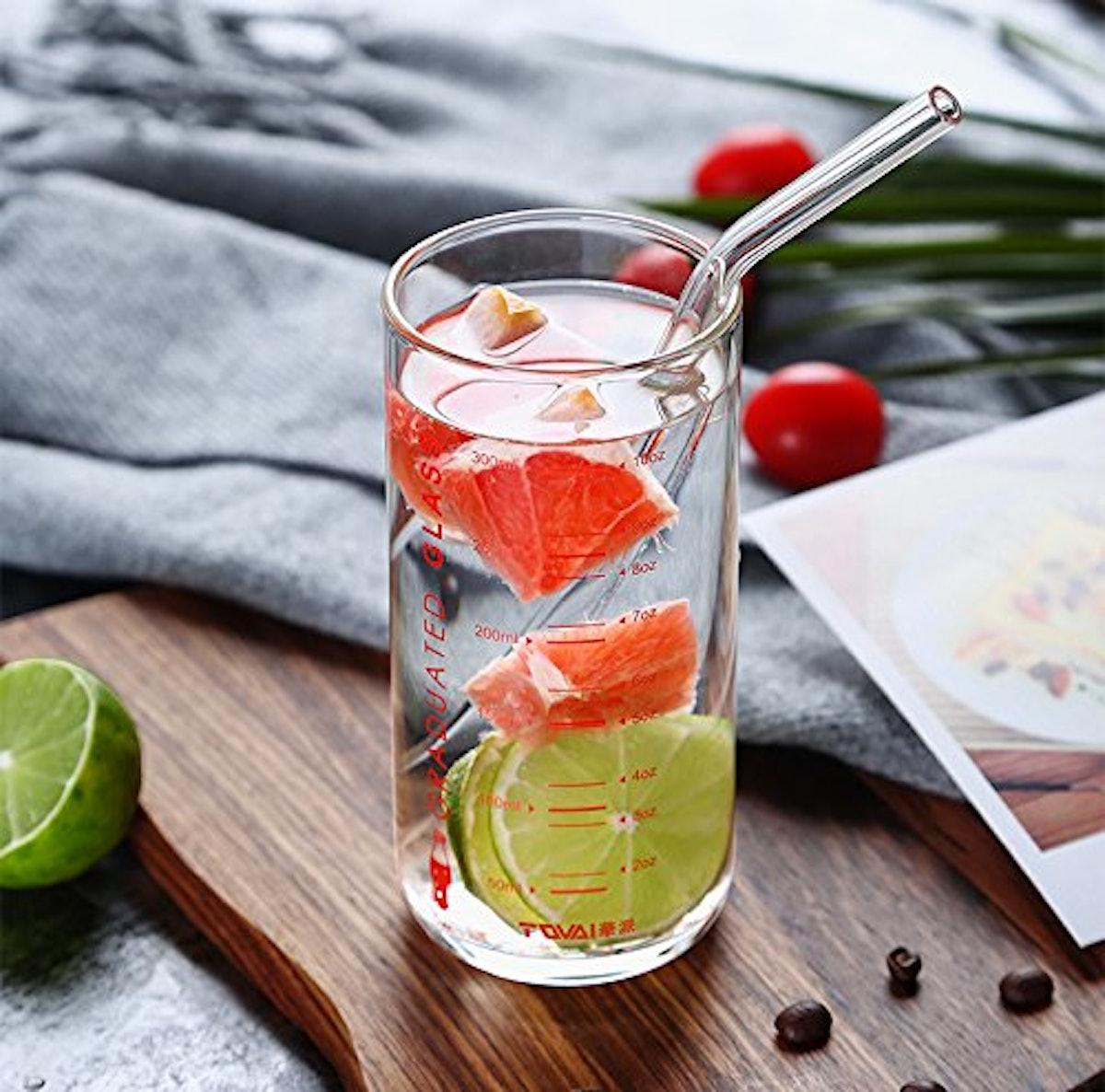 ALINK Glass Smoothie Straws (8-Pack)