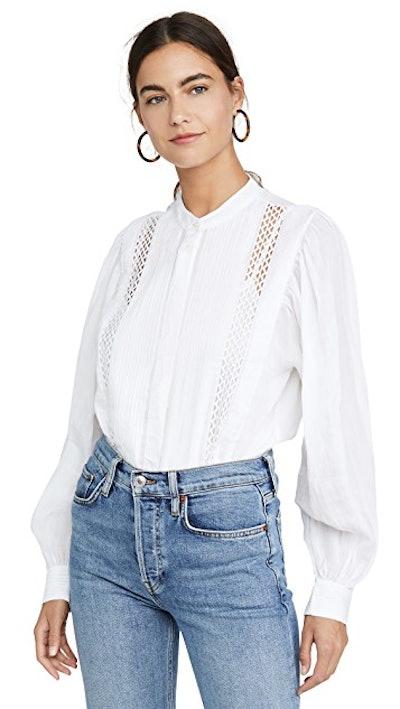 Lace Button Front Top