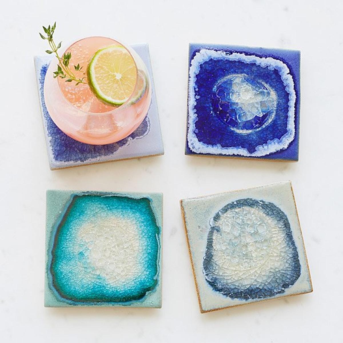 Stoneware and Crackled Glass Coaster Set