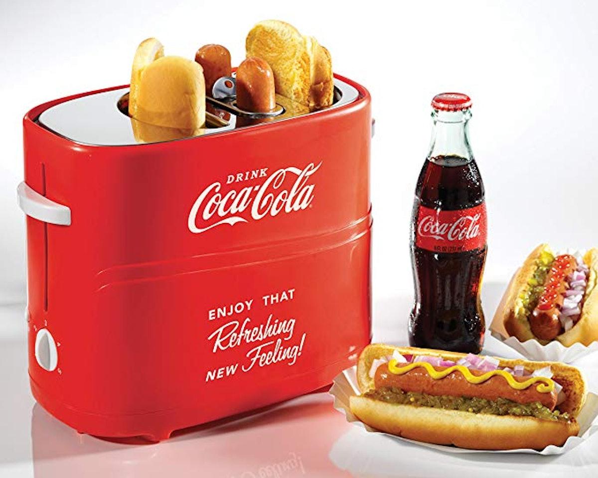 Nostalgia HDT600COKE Coca-Cola Pop-Up 2 Hot Dog and Bun Toaster