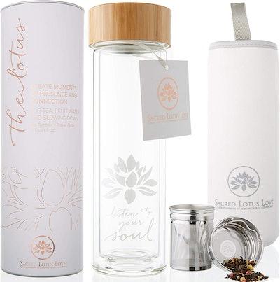 The Lotus Glass Tea Tumbler