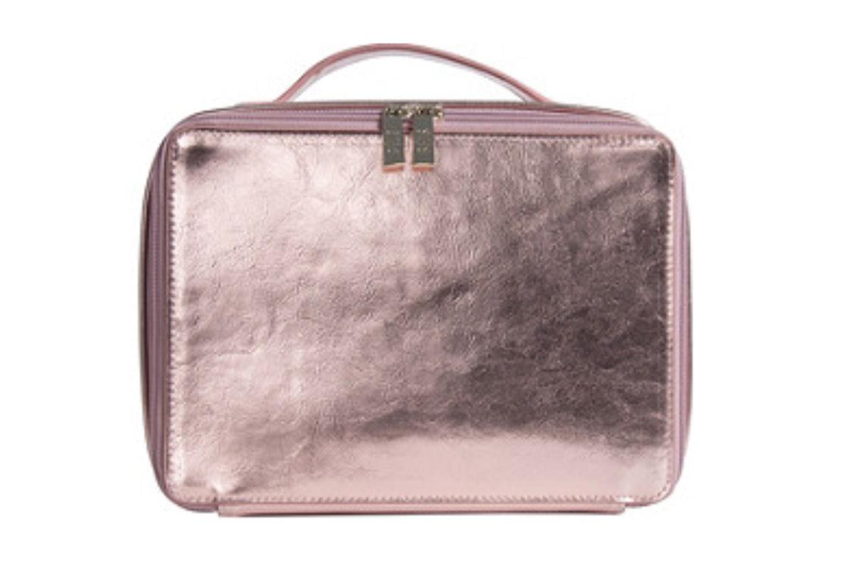 BÉIS Cosmetics Case in Metallic Pink