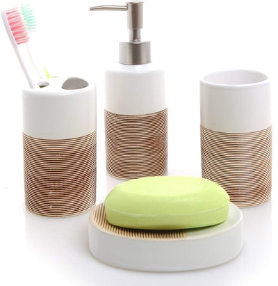 MyGift White & Beige Ceramic Bathroom Set (4 Pieces)