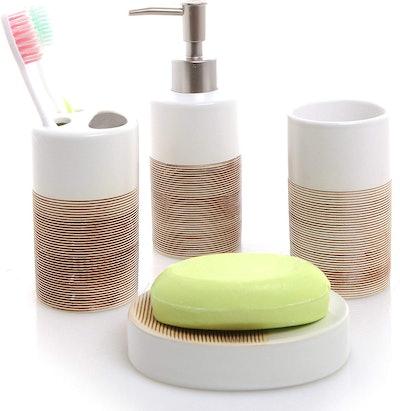 MyGift White & Beige Ceramic Bathroom Set (4 Pieces)