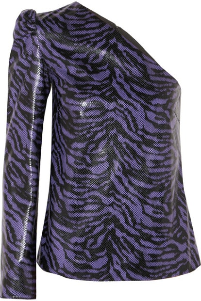 Michelle One-Sleeve Zebra-Print Faux Leather Top