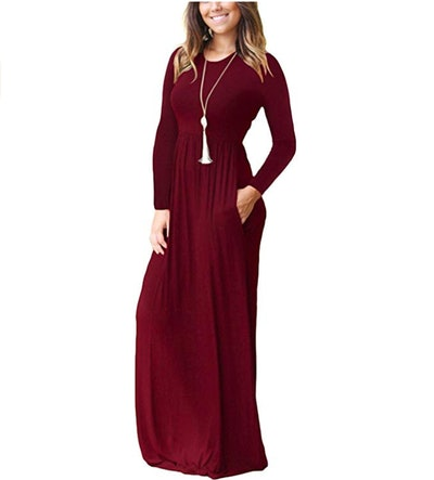 AUSELILY Long-Sleeve Maxi Dress With Pockets