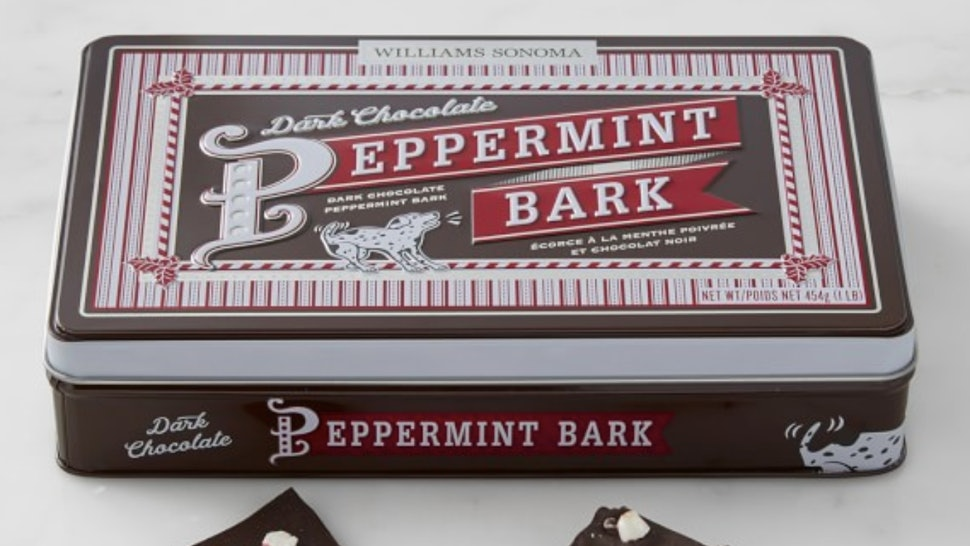 Williams Sonoma is releasing a Dark Chocolate Peppermint Bark this year.