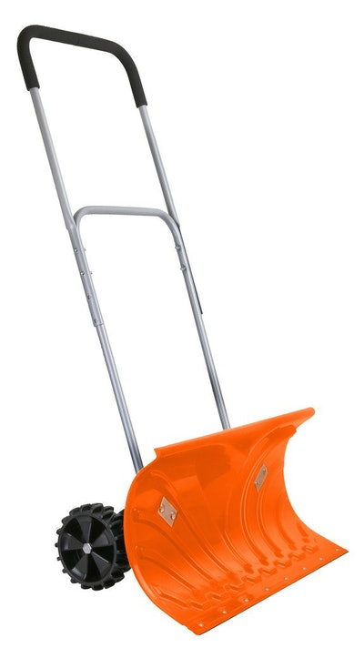 Ivation Heavy Duty Rolling Snow Pusher/Shovel