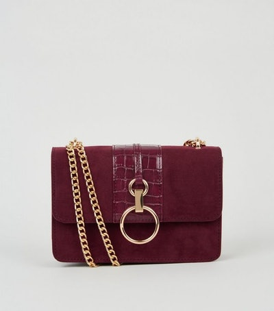 Burgundy Suedette Faux Croc Shoulder Bag