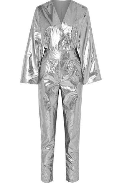 Amiya Metallic Faux Leather Jumpsuit