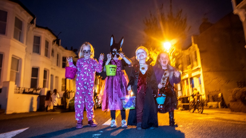 Children dress in costume to celebrate Halloween on October 31, 2018 in Brighton, United Kingdom.