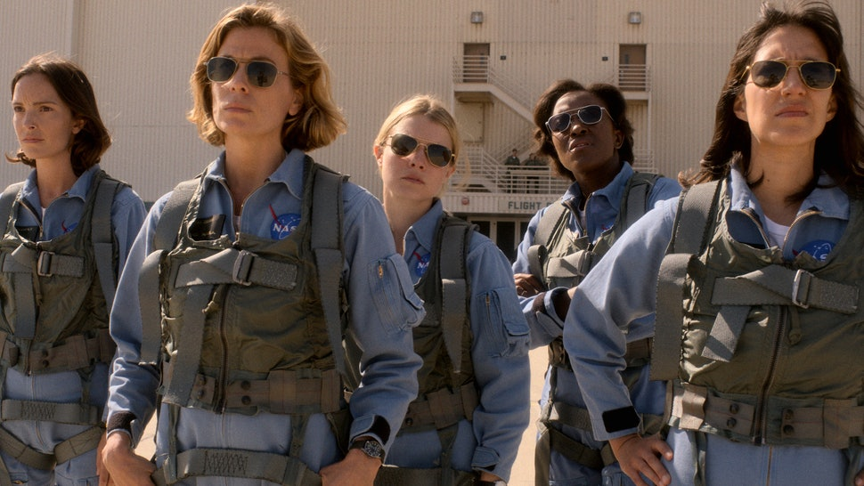 Jodi Balfour as Ellen Wilson, Sonya Walger as Molly Cobb, Sarah Jones as Tracy Stevens, Krys Marshall as Danielle Poole, and Cass Buggé as Patty Doyle in 'For All Mankind'