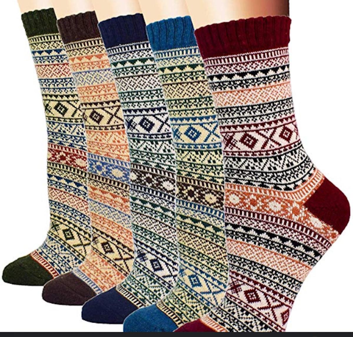 YZKKE Vintage Knit Socks (5-Pack)