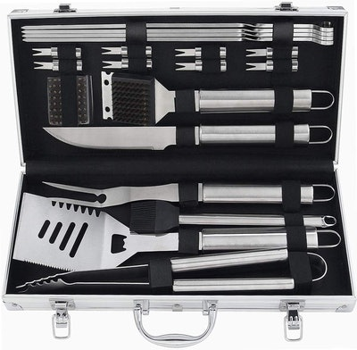 Stainless Steel Barbecue Grill Utensils Kit (20-pieces)