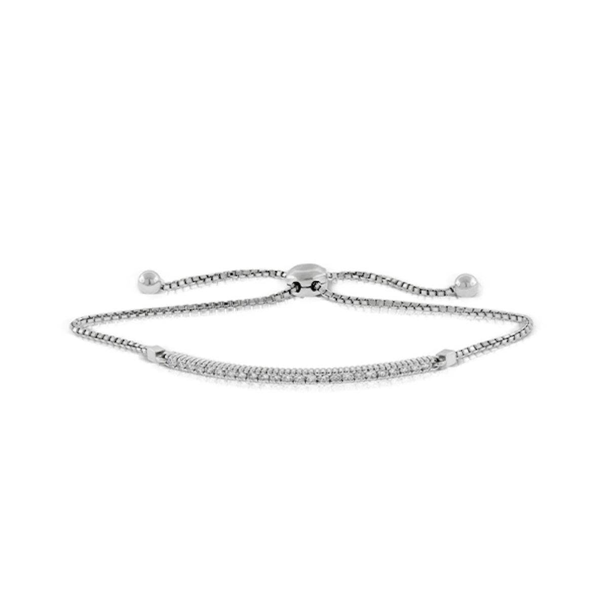 Diamond Bolo Bar Bracelet in 14K White Gold