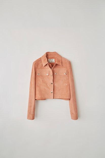 Cropped Suede Jacket Pink