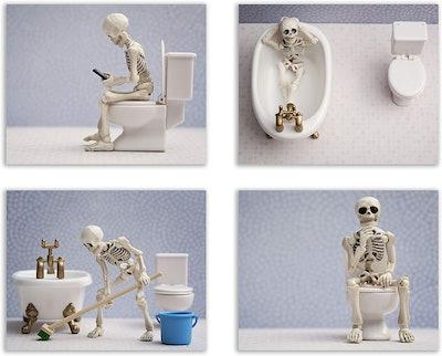 Summit Designs Skeleton Bathroom Prints (4-Pack)