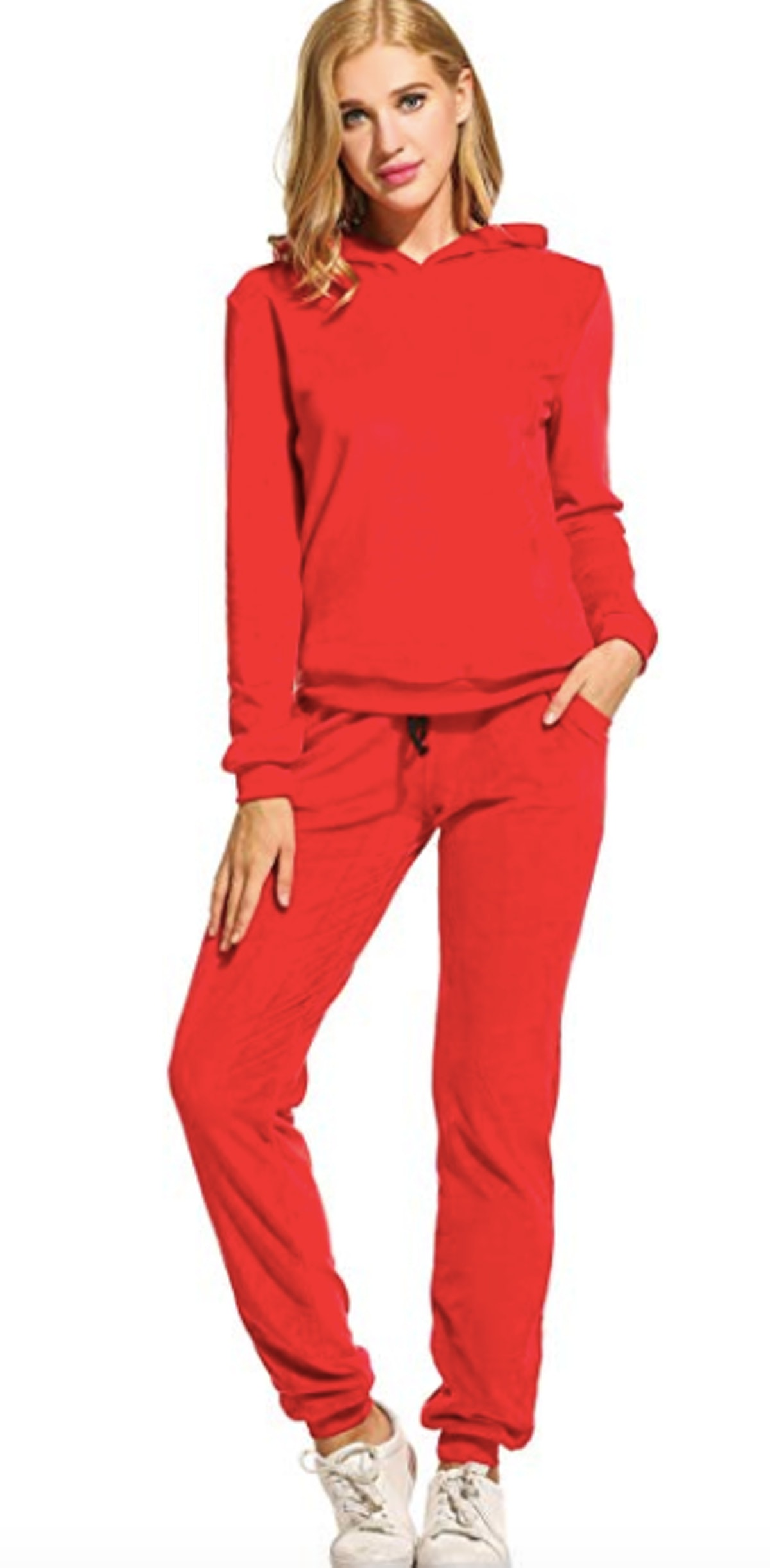 Hotouch Women's Solid Velour Sweatsuit Set Hoodie and Pants
