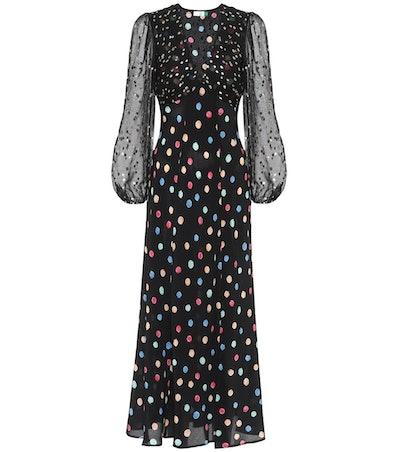 Melanie Dotted Silk Maxi Dress