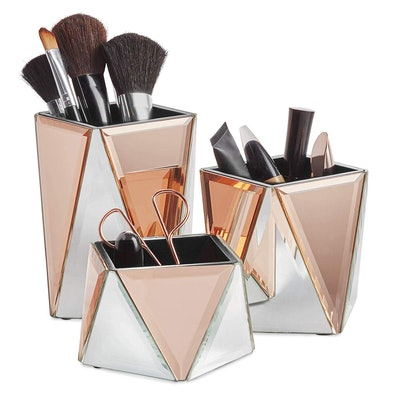 Rose Gold Mirrored Storage Pots for Makeup Cosmetics