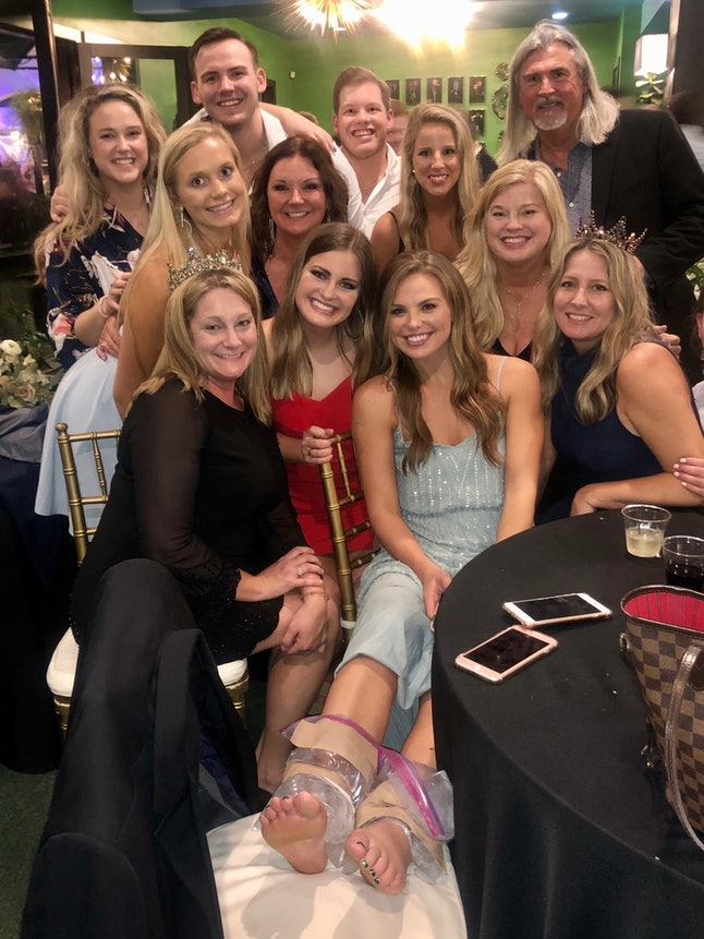 Hannah Brown at a wedding in Alabama with her family.
