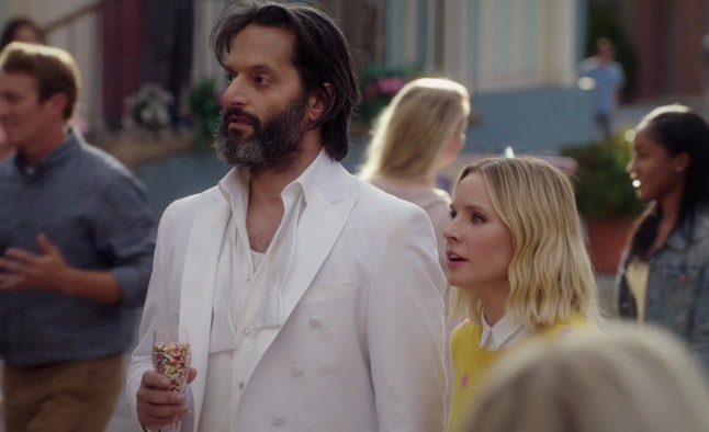 Jason Mantzoukas as Derek and Kristen Bell as Eleanor in 'The Good Place'