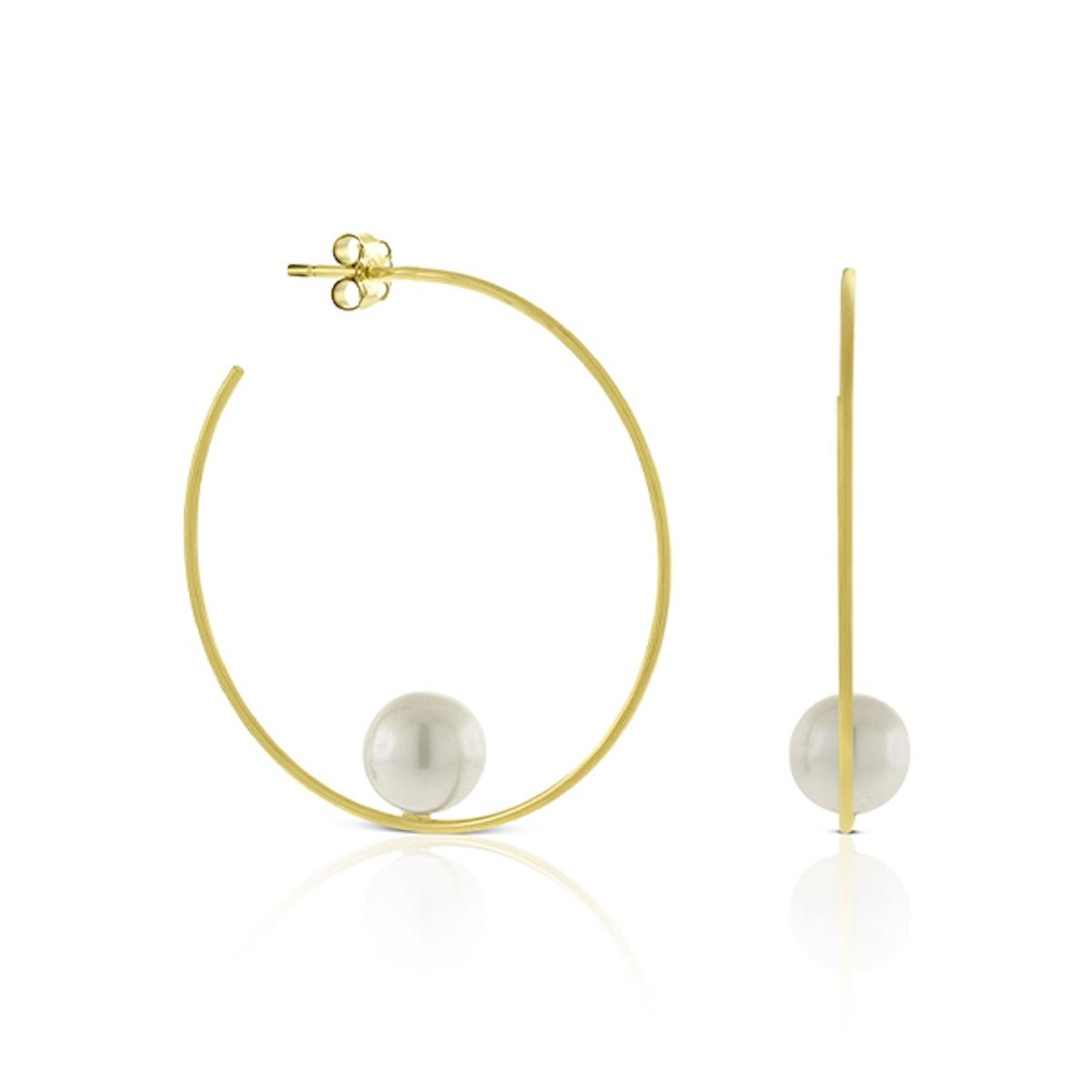 Balanced Cultured Pearl Hoop Earrings in 14K Yellow Gold