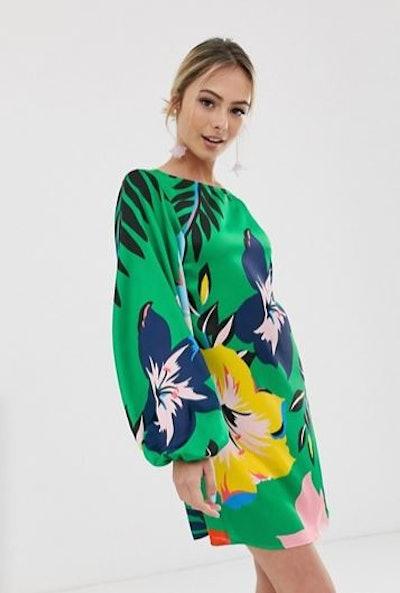 Liquorish Mini Dress In Overscaled Green Floral