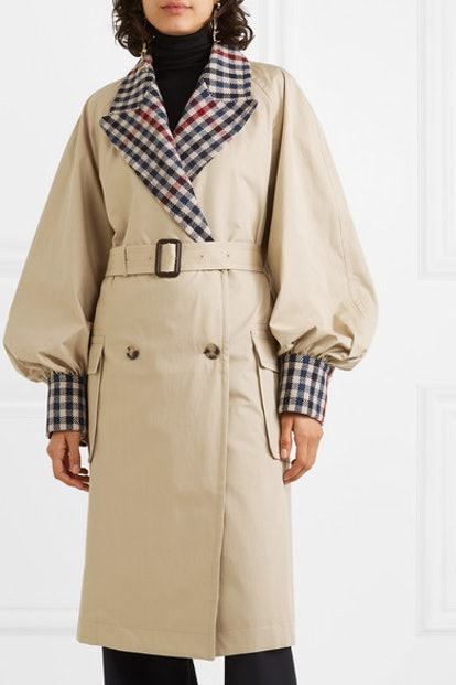 Belted Checked Wool-Blend And Cotton-Gabardine Trench Coat