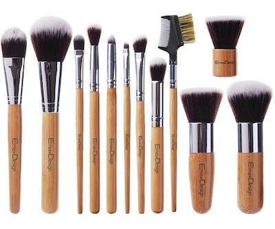 EmaxDesign Bamboo Makeup Brush Set (Set of 12)