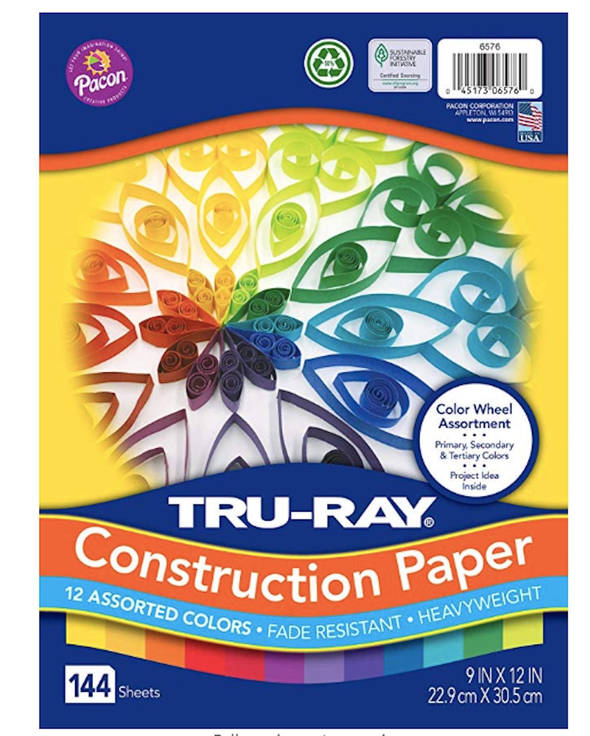 "Tru-Ray Heavyweight Construction Paper, Color Wheel Assortment, 9""x12"", 144 Sheets"