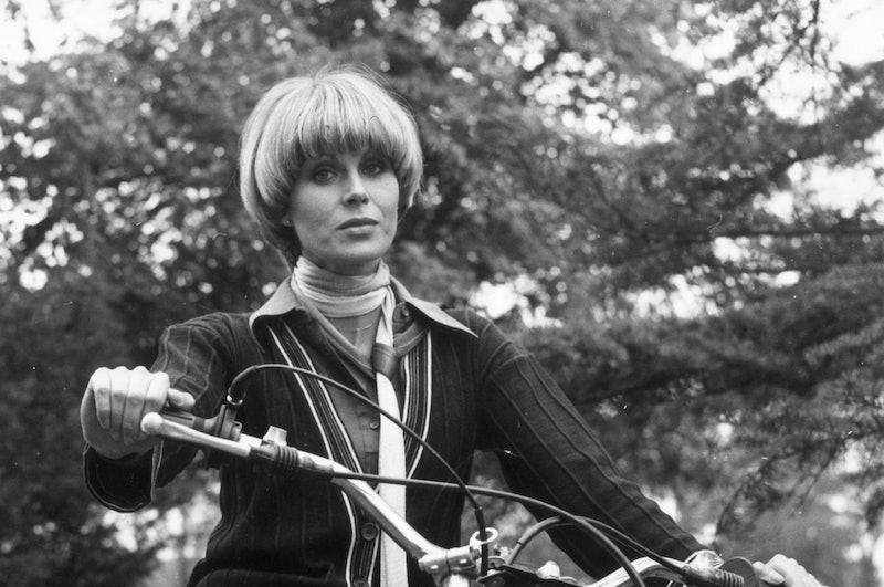 Joanna Lumley with a bowl haircut