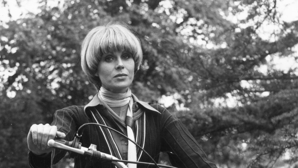 Joanna Lumley with a bowl haircut