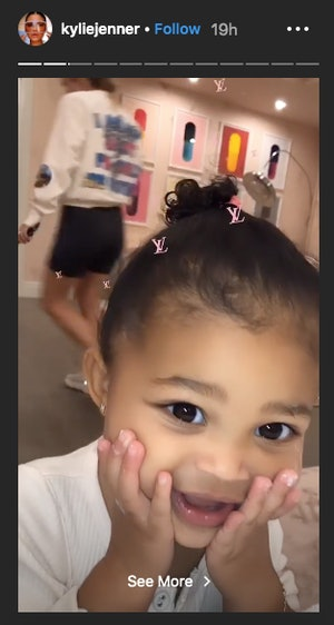 Stormi wore Kylie Skin's new face mask on Instagram.