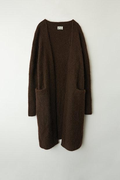 Mohair-Blend Cardigan Dark Brown