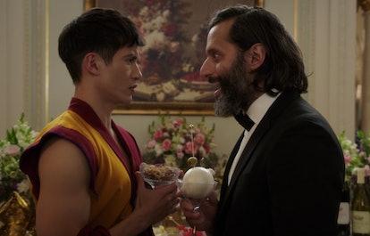 Manny Jacinto as Jason Mendoza and Jason Mantzoukas as Derek in 'The Good Place'