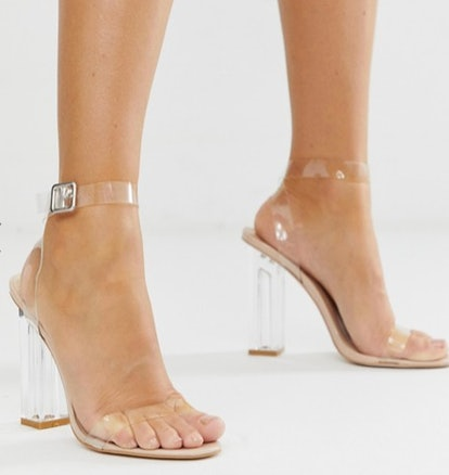 Public Desire Alia clear strap heeled sandals