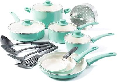 16pc Ceramic Non-Stick Cookware Set