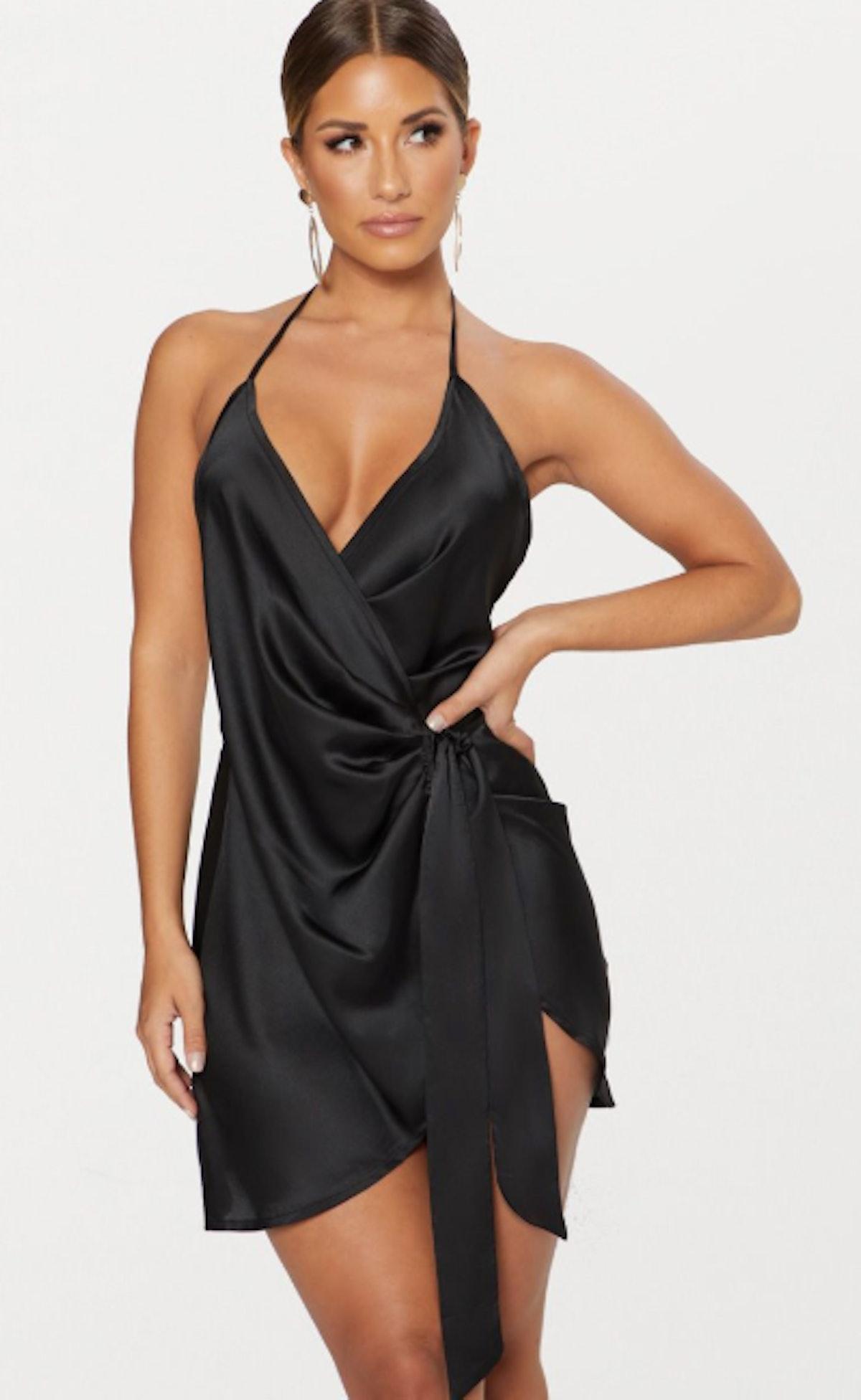 Black Satin Halterneck Wrap Bodycon Dress