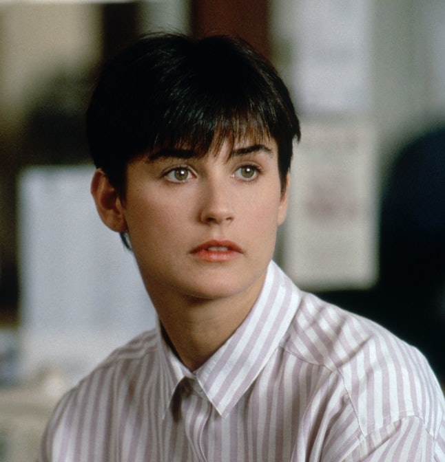Demi Moore with a bowl haircut