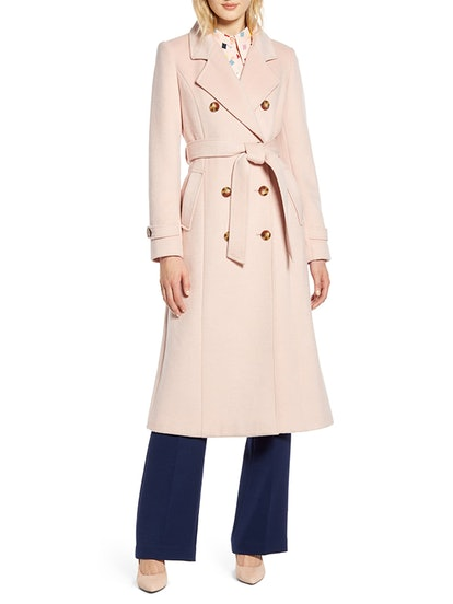 Long Wool Blend Trench Coat