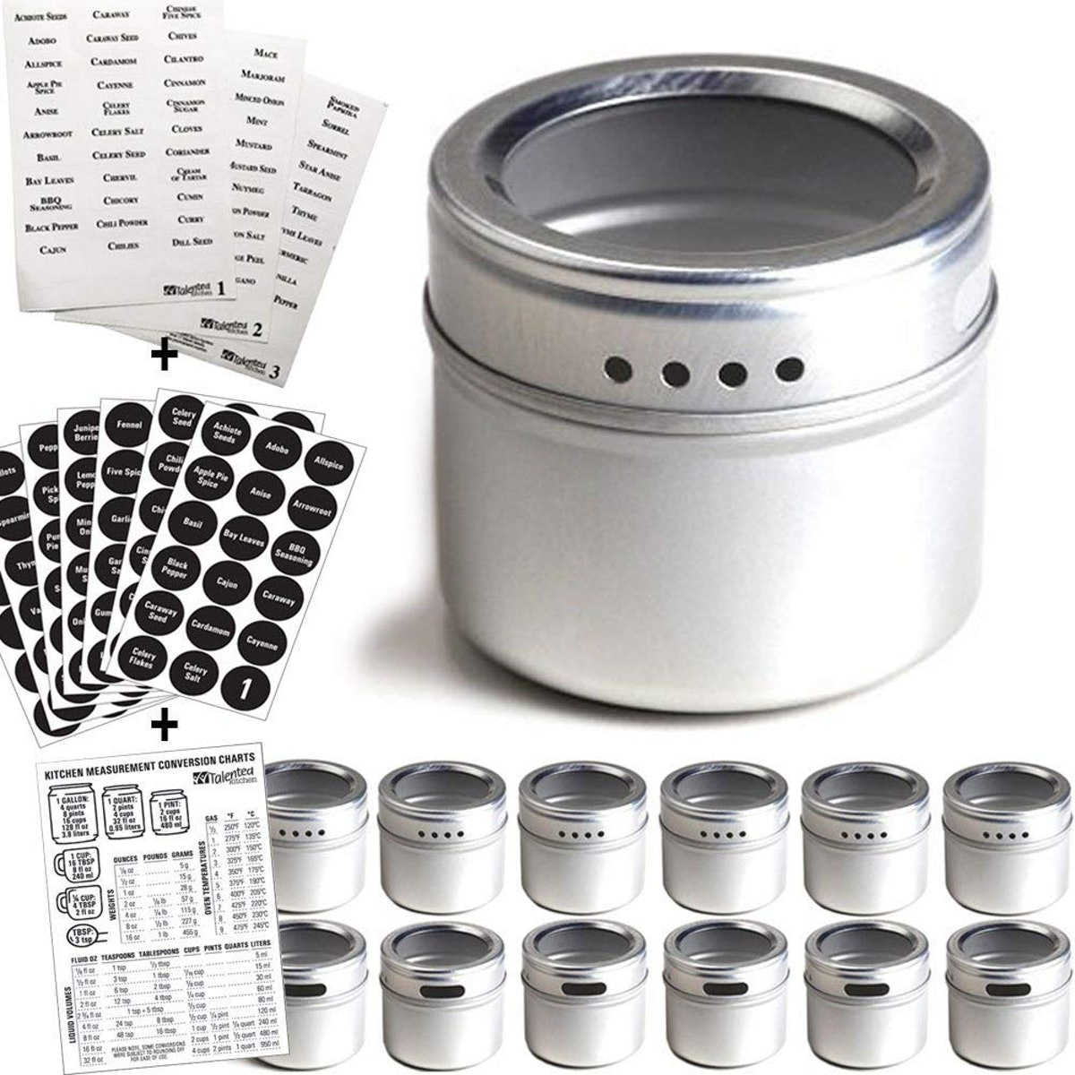 12 Magnetic Spice Tins & Labels