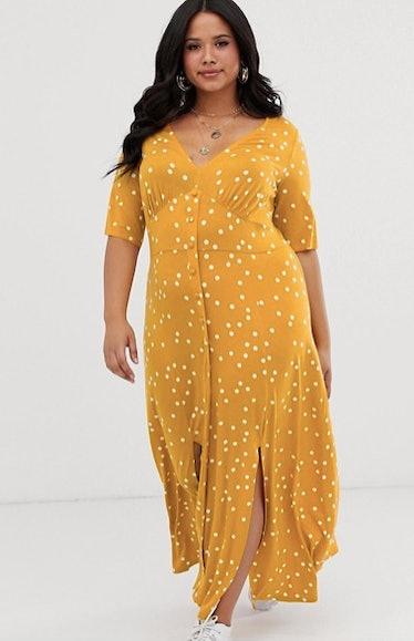 ASOS DESIGN Curve button through maxi tea dress with splits in polka dot