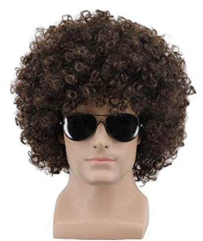 Yuehong Short Fluffy Disco Afro Wigs Synthetic Anime Cosplay Fancy Funny Wigs for Unisex Men Women (Dark Brown)