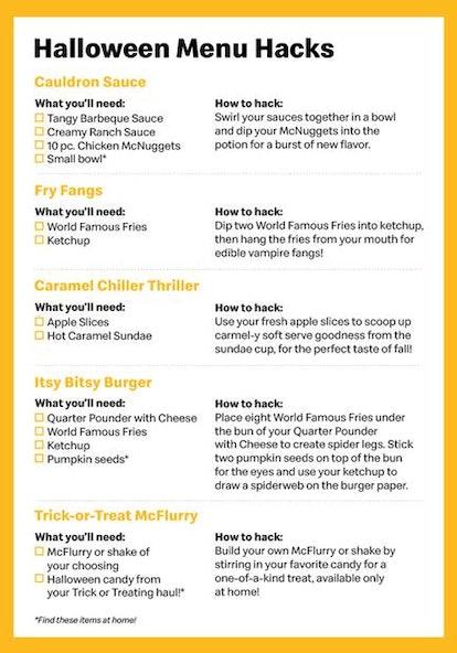 McDonalds Halloween menu suggestions