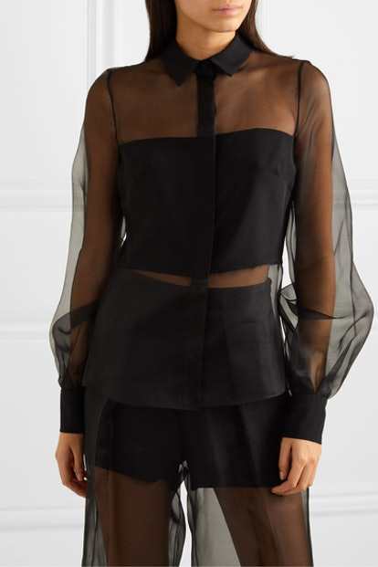 Silk-Organza And Crepe Blouse
