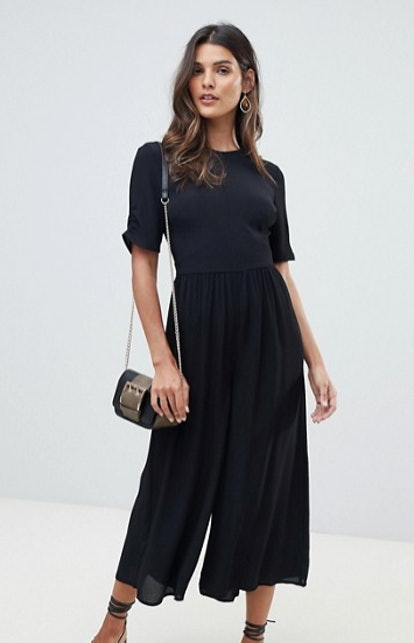 ASOS DESIGN tea jumpsuit with ruched sleeve detail