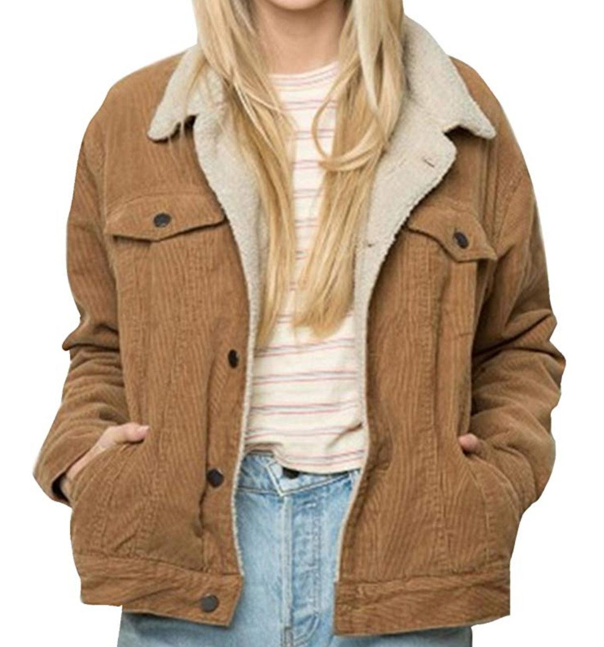 HAOYIHUI Womens Casual Solid Long Sleeve Single Breasted Faux Fur Collar Jacket