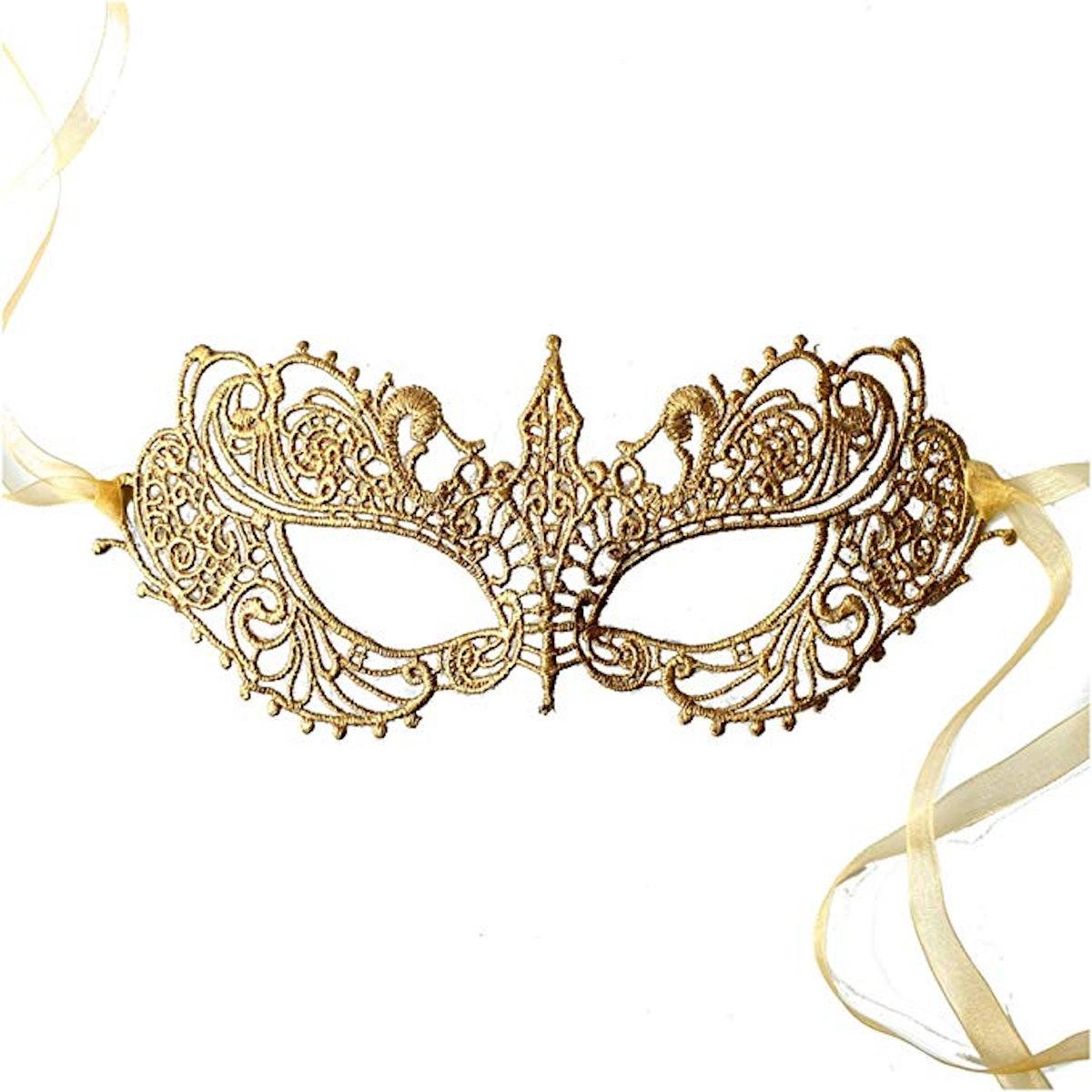 Samantha Peach Masquerade Mask - Women's Luxury Masked Ball Mask