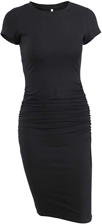 Missufe Short-Sleeve Ruched Dress